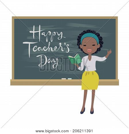 Teachers day greeting card. An afro-american teacher standing at a chalkboard isolated vector illustration