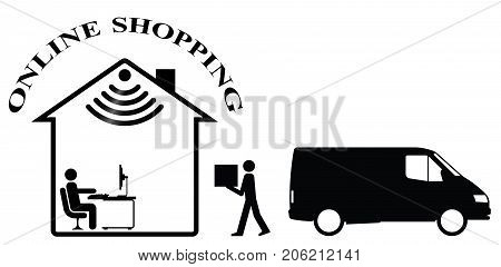 Representation of online shopping and home delivery isolated on white background  with copy space for own text