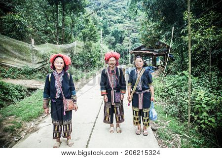 SA PA, VIETNAM - AUGUST 2017: Red dzao ethnic minority women in Ta Phin village, Sa Pa, Lao Cai province, Vietnam