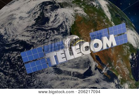 Telecommunication Satellite Orbiting Earth 3d Illustration - Elements of this image furnished by NASA