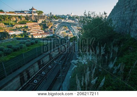 Panorama overlooking the Dom luis I bridge in the background, Porto, Portugal.