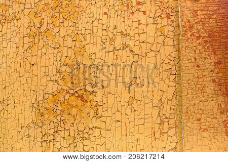Peeling paint on old wooden rustic material on the wall. Wood texture backgrounds.