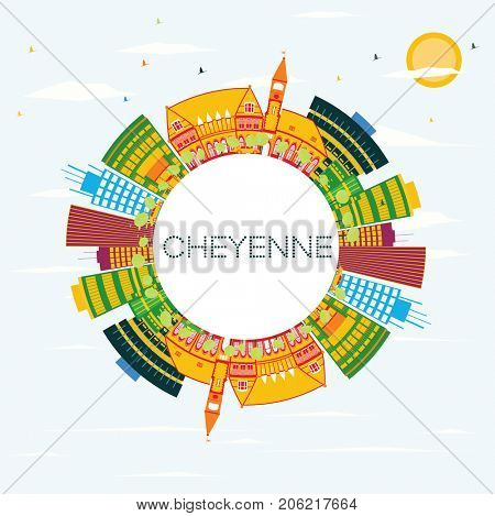 Cheyenne Skyline with Color Buildings, Blue Sky and Copy Space. Business Travel and Tourism Concept. Image for Presentation Banner Placard and Web Site.