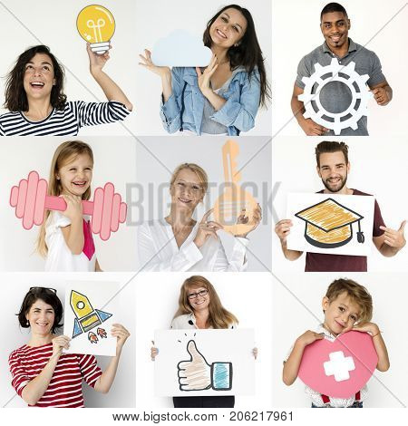 Diversity People Set with Paper Craft Art Icons Studio Collage