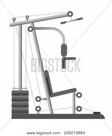 Gym equipment or trainer machine with bench and weight dumbbells or kettle bells for chest and back pull training. Gym fitness sport club bodybuilding and powerlifting rack vector isolated icon