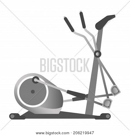 Gym equipment elliptical trainer or cross-trainer exercise machine for cardiovascular workout training. Gym fitness sport club vector isolated icon