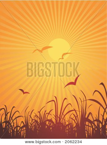 An abstract landscape in yellows and browns with birds and sun poster