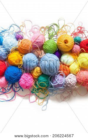 Colored Balls Of Yarn. View From Above. Rainbow Colors. All Colors. Yarn For Knitting. Skeins Of Yar
