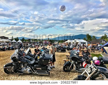 FAAKER SEE, AUSTRIA - SEPTEMBER 9: Custom motorcycles are shown at European Bike Week on September 9, 2017 in Faaker See, Austria. The event is billed as the largest European motorcycle event.