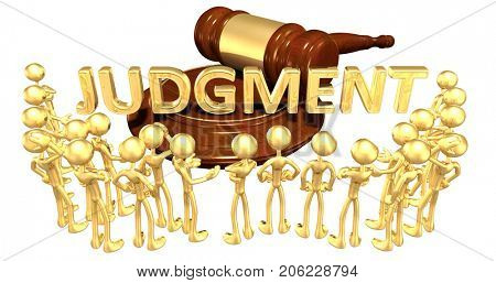 Judgment Law Concept With The Original 3D Characters Illustration