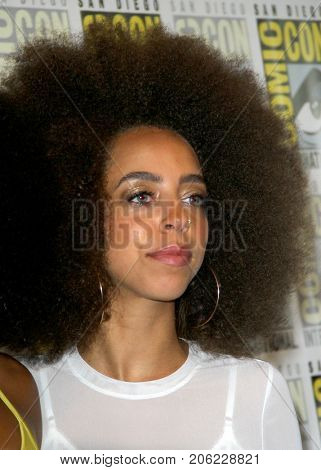 Hayley Law arrives at the 2017 Comic Con press room at the Hilton San Diego Bayfront hotel on July 22, 2017 in San Diego, CA.