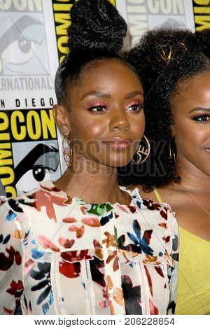 Ashleigh Murray arrives at the 2017 Comic Con press room at the Hilton San Diego Bayfront hotel on July 22, 2017 in San Diego, CA.