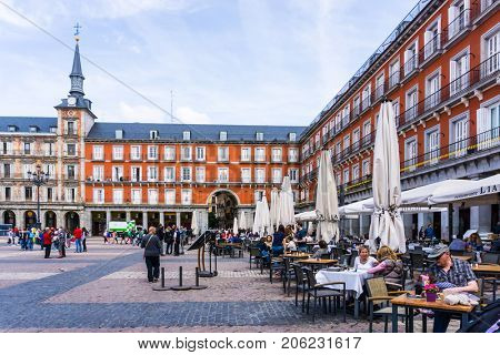 MADRID, SPAIN - April 20, 2017: The Plaza Mayor (English Main Square)  was built during Philip III's reign (1598â??1621) , SPAIN