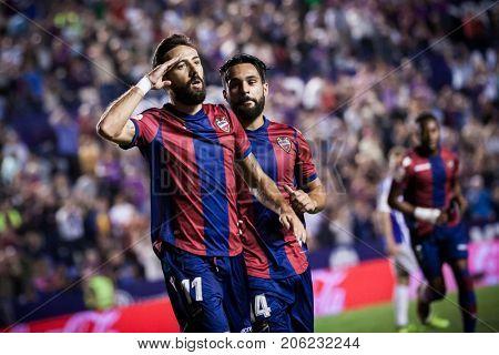 VALENCIA, SPAIN - SEPTEMBER 21: 11 Morales celebrates a goal during Spanish La Liga match between Levante UD and Real Sociedad at Ciudad de Valencia Stadium on September 21, 2017 in Valencia, Spain