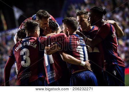 VALENCIA, SPAIN - SEPTEMBER 21: Players celebrate a goal during Spanish La Liga match between Levante UD and Real Sociedad at Ciudad de Valencia Stadium on September 21, 2017 in Valencia, Spain