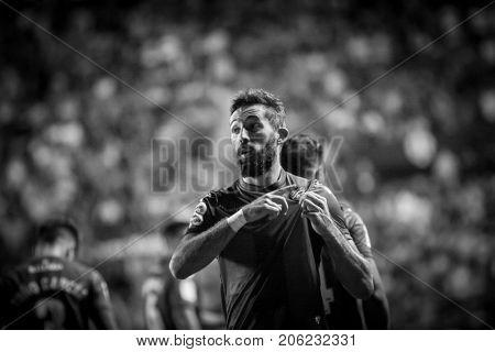 VALENCIA, SPAIN - SEPTEMBER 21: Morales celebrates a goal during Spanish La Liga match between Levante UD and Real Sociedad at Ciudad de Valencia Stadium on September 21, 2017 in Valencia, Spain