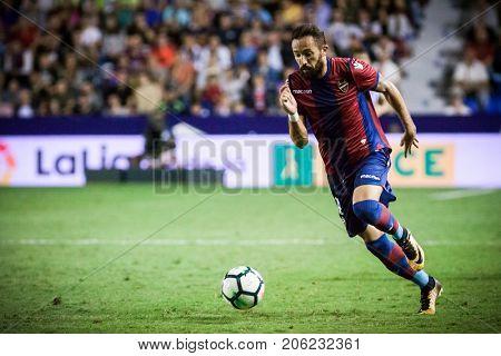 VALENCIA, SPAIN - SEPTEMBER 21: Morales during Spanish La Liga match between Levante UD and Real Sociedad at Ciudad de Valencia Stadium on September 21, 2017 in Valencia, Spain