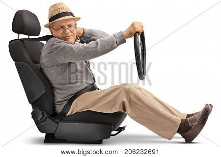 Mature man seated in a car seat experiencing neck pain isolated on white background