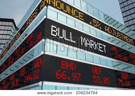 Bull Market Stock Ticker Building Wall Street 3d Illustration poster