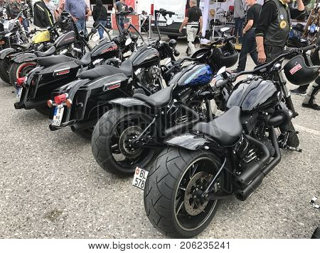 FAAKER SEE, AUSTRIA - SEPTEMBER 9: Custom motorcycles are shown at European Bike Week on September 9, 2017 in Faaker See, Austria. The event is billed as the largest European motorcycle event