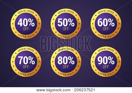 Set of the isolated medals, badges, stamps for special offer, sale and advert for your product. Round medals with colorful gradients from 40 to 90 percents. Vector illustration for web projects or print.