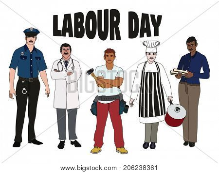 Labour Day Concept showing group of employees standing including policeman doctor builder chef and teacher