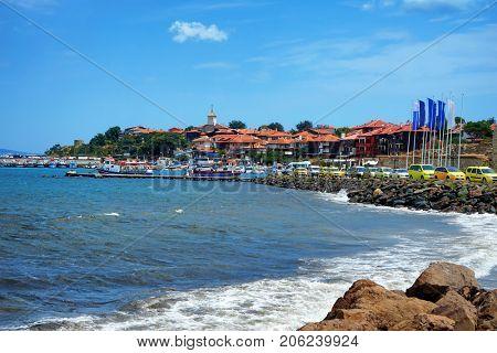 Rocky shoreline of sea resort