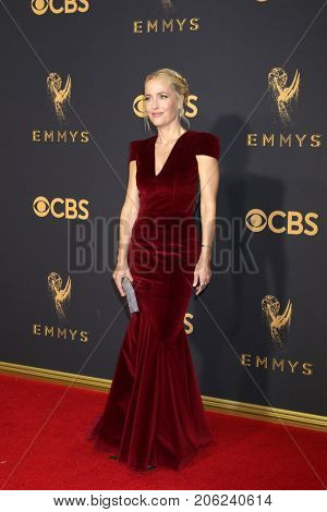 LOS ANGELES - SEP 17:  Gillian Anderson at the 69th Primetime Emmy Awards - Arrivals at the Microsoft Theater on September 17, 2017 in Los Angeles, CA