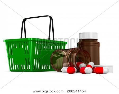 shopping basket and medicament on white background. Isolated 3d illustration