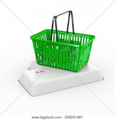 online shopping on white background. Isolated 3d illustration