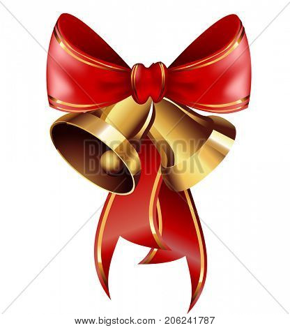 Jingle bells with red bow .