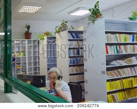 NOVOSIBIRSK, RUSSIA - DECEMBER 4, 2014: Paramedic on the reception in the Health Center. Health Centers are operated since 2010 and aimed to disease prevention