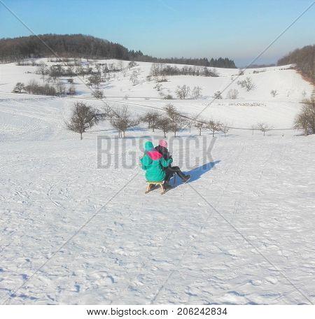 Sledge in a winter landscape