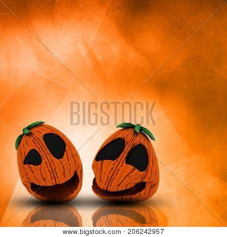 3D render of a Halloween pumpkins on a grunge watercolour background