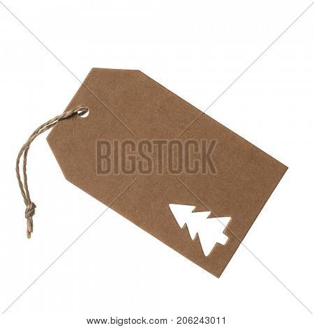 Brown swing tag label embossed with a Christmas tree shape isolated on a white background