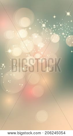 Vertical banner ad background with sparkling bokeh lights in soft retro colors