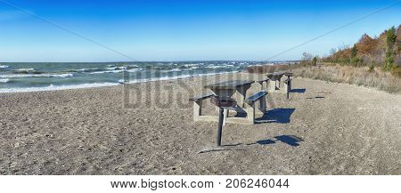 Panoramic view of sand dunes beach in lake Erie at Point Pelee National Park in southwestern Ontario during the fall.