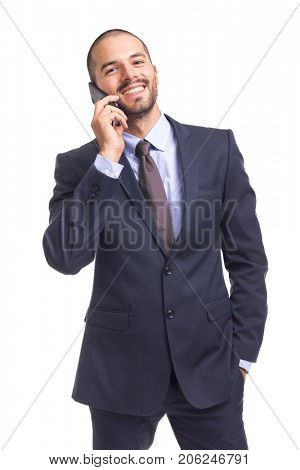 Cheerful businessman talking on the phone, isolated on a white background