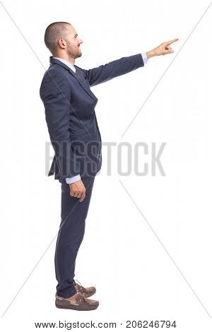 Business man in blue suit pointing with finger, isolated over a white background