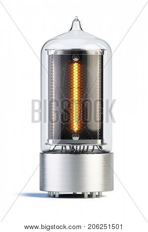Nixie tube indicator isolated on white - set of decimal digits. Number 1. 3d rendering