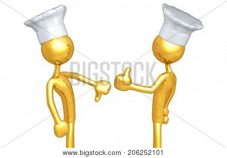 Thumbs Down Thumbs Up The Original 3D Chef Characters Illustration