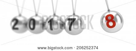Newton's cradle showing 2018, New Year - 3d render