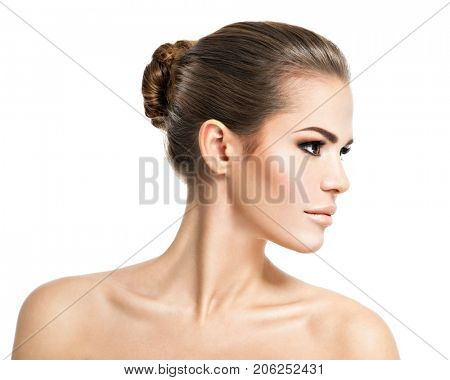 Profile face of  young  woman - isolated on white background