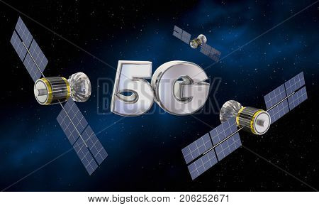 5G Wireless Internet Service Satellite Signal 3d Illustration
