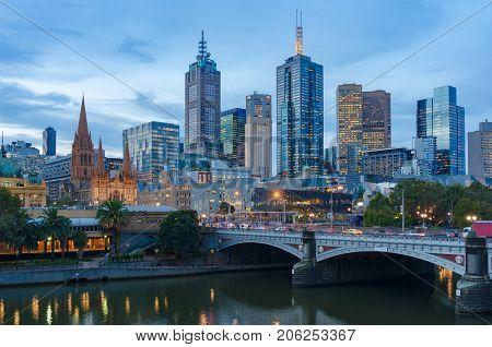 Melbourne Cbd, Financial Centre District And Princes Bridge