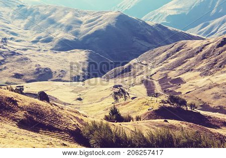 Pampas landscapes in  Cordillera de Los Andes, Peru, South America