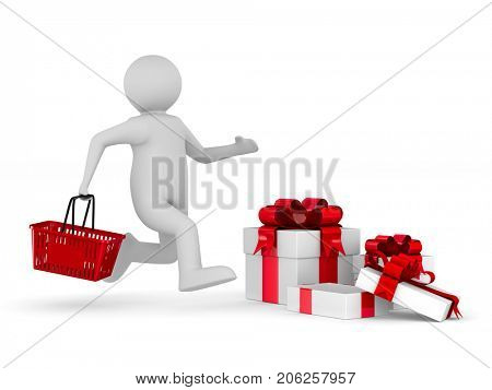 Man with shopping basket and gift box on white background. Isolated 3D illustration