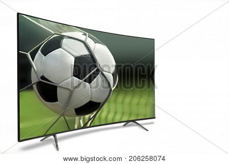 liquid crystal monitor on the background of the stadium broadcasts the match in the evening time of the World Cup 2018