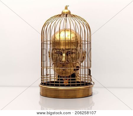 3d render: Man with a Cage on His Head