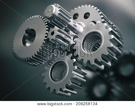 Engine gears wheels and cogwheels. Industrial background. 3d illustration.